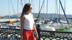 Young woman having fun travel and walking at luxury yacht club Stock Footage