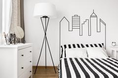 White furniture in bedroom Stock Photos
