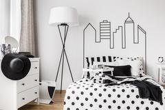 Trendy woman bedroom Stock Photos