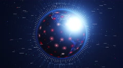 Digital shiny earth orbiting slowly. Global network concept. Stock Footage