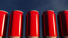 Generic red cans against sky at sunset. Soft drinks or beer for party. Beach bar Stock Footage