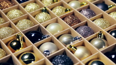 Box filled with christmas balls Stock Footage