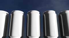 White cans against sky at sunset. Soft drinks or beer for party. Beach bar. 4K Stock Footage
