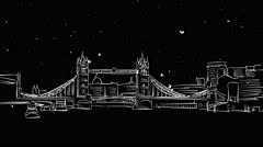 London Tower Bridge Skylline Timelapse Sketch Animation Stock Footage