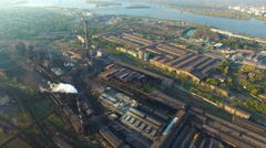 Aerial survey Steel mill Stock Footage
