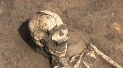 A Skeleton Of A Human Body Lying On A Ground At A Dig Site Stock Footage