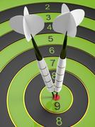 Two bright white darts hitting the bullseye aim. concept of success 3d Stock Illustration