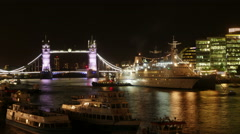Time Lapse of London's Tower Bridge with Ships at Night, Thames, England, UK Stock Footage