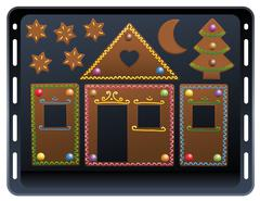Baking Plate Gingerbread House Candy Ornament Stock Illustration