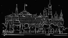 Moscow Kremlin Outline Timelapse Sketch on Black Stock Footage