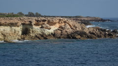 Coast near Coral Bay, Cyprus, PAN Stock Footage