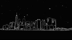 New York Outline Timelapse Animation on Black Stock Footage