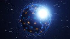Digital shiny world orbiting slowly. Global network concept. Stock Footage