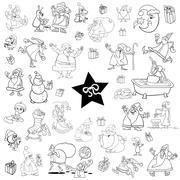 Black and white xmas set Stock Illustration