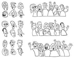 Black and white set of happy people Stock Illustration
