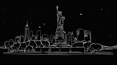 Liberty Statue and New York Skyline Timelapse Animation on Black Stock Footage