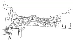 Venice Rialto Bridge Timelapse Animation on White Stock Footage