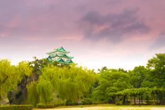 Nagoya Castle Moody Sunset Sky Above Trees H Stock Photos