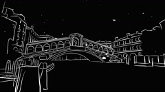 Venice Rialto Bridge Timelapse Animation on Black Stock Footage