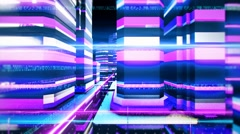 Abstract cybernetic city with futuristic binary communication light streaks. Stock Footage