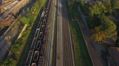 Railroad with wagons. Aerial survey Stock Footage