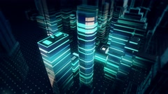 Futuristic Holographic Buildings on digital display interface with Alert Message Stock Footage