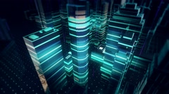 Holographic Cybernetic City with information light beams flowing over buildings Stock Footage