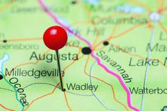 Wadley pinned on a map of Georgia, USA Stock Photos