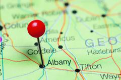 Albany pinned on a map of Georgia, USA Stock Photos