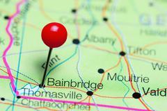 Bainbridge pinned on a map of Georgia, USA Stock Photos