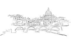Rome Citiscape Timelapse Animation on White Stock Footage