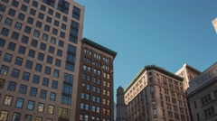 Hyperlapse walk on 5th Ave of Manhattan buildings on blue sky background in New Stock Footage