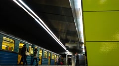 People come into the train, the Moscow metro. Stock Footage