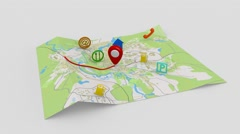 Traffic on the gps map Stock Footage