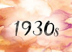 1930s Colorful Watercolor and Ink Word Art Stock Illustration