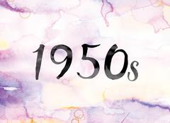 1950s Colorful Watercolor and Ink Word Art Piirros