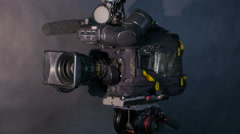 Television Studio Camera. Broadcasting professional camcoder Stock Footage