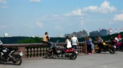 The observation platform, Sparrow hills, bikers, views of Moscow Stock Footage