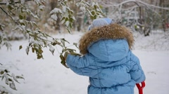 Happy child plays in a Park with snowy tree Stock Footage