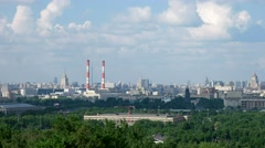 View on Moscow from the observation platform on the Sparrow hills Stock Footage