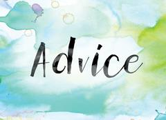 Advice Colorful Watercolor and Ink Word Art Stock Illustration