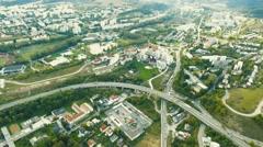 Highway crossing slovak town, aerial view. Banska Bystrica, Slovakia Stock Footage