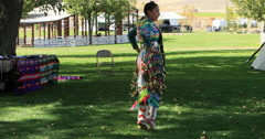 Female Native American dancer dance no sound DCI 4K Stock Footage