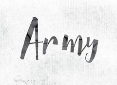 Army Concept Painted in Ink Stock Illustration