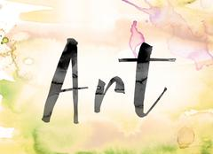 Art Colorful Watercolor and Ink Word Art Stock Illustration