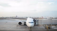 12 october 2016 - Istanbul, Tirkey, Ataturk - The plane is near the terminal in Stock Footage