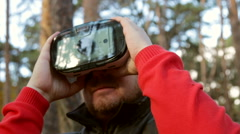 Man with glasses of virtual reality Stock Footage