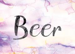 Beer Colorful Watercolor and Ink Word Art Stock Illustration