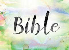 Bible Colorful Watercolor and Ink Word Art Piirros