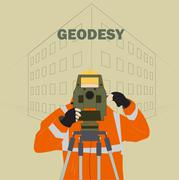 Geodetic Engineer Works Stock Illustration